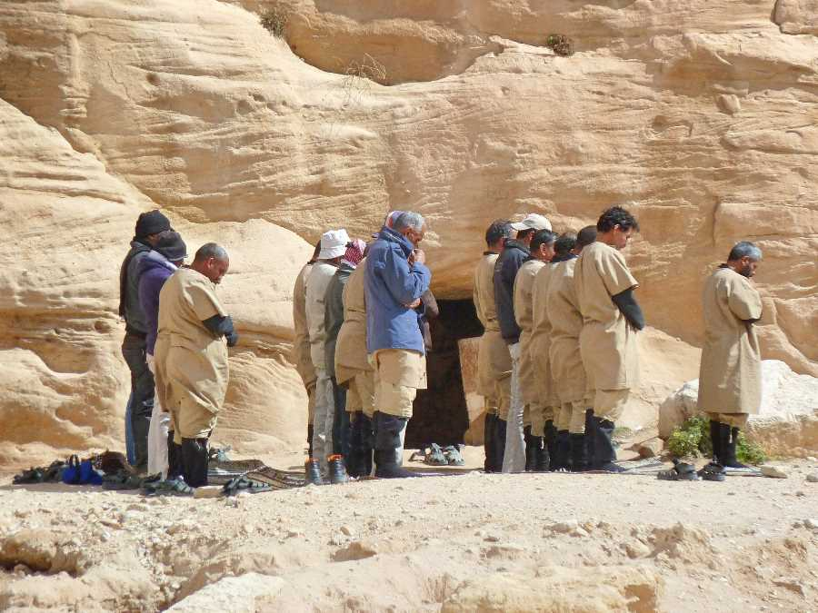 Petra workers take a break to pray