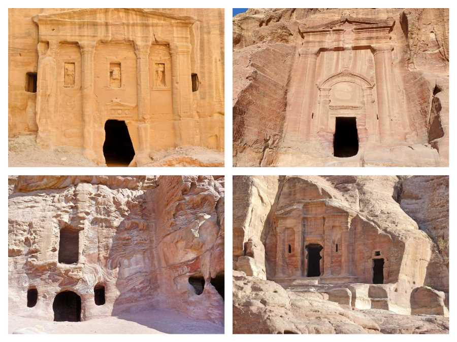 A selection of entrances to caves at Petra