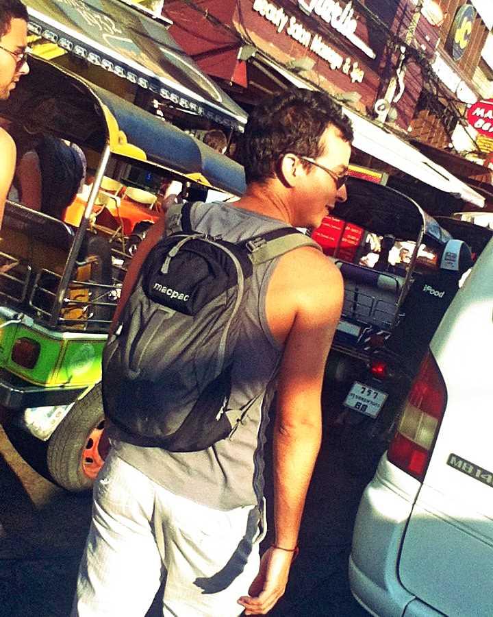 Man walking down the Khao San Road