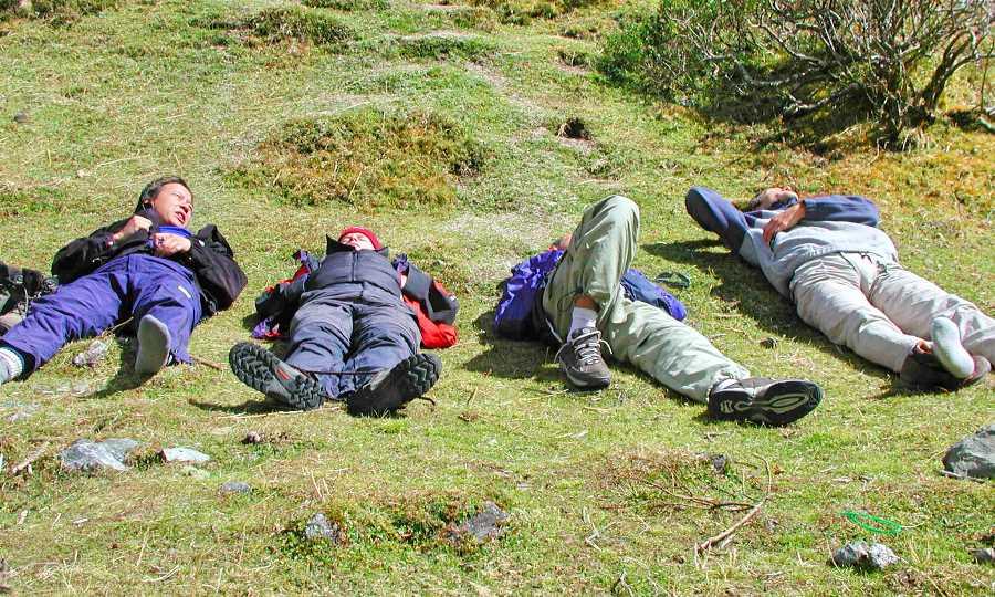 Resting on the trek to Machu Picchu