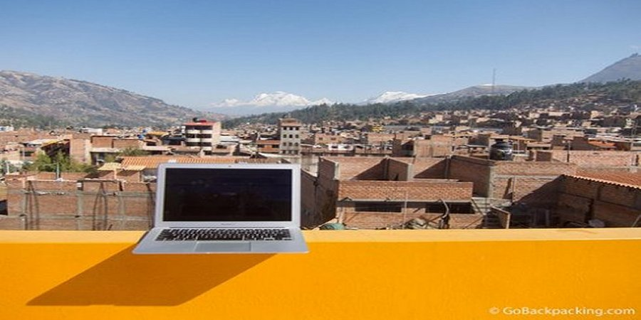 Work spaces of digital nomads and travel bloggers